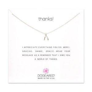 Dogearedthanks! wishbone charm necklace, sterling silver