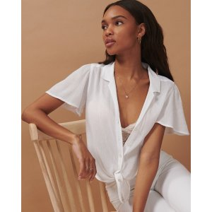 Abercrombie & FitchWomen's Flutter-Sleeve Top | Women's Up To 50% Off Select Styles | Abercrombie.com