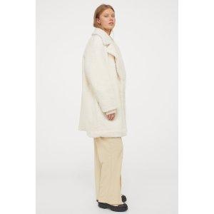 H&M白色毛绒外套
