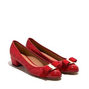 Salvatore Ferragamo菱格蝴蝶结矮跟鞋