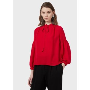 Double Silk Georgette Blouse With Puffed Sleeves for Women | Emporio Armani