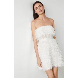Lace Fringe Strapless Dress