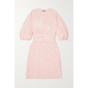 GanniPussy-bow plisse-satin mini dress