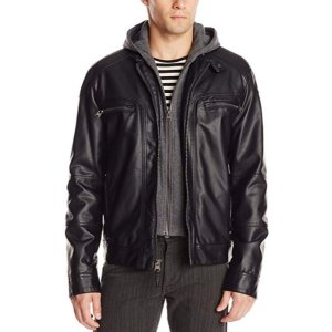 Black Friday Sale Live: Calvin Klein Men's Faux-Leather Moto Jacket with Hoodie