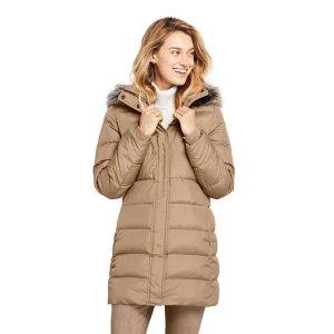 Lands' EndWomen's Winter Long Down Coat with Faux Fur Hood
