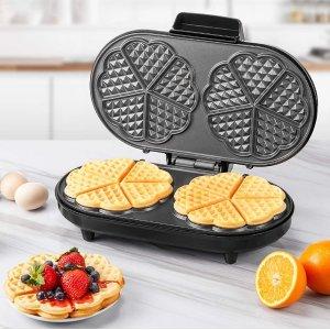 折后€42.49 一次制作双人份闪购:AICOOK 爱心华夫饼机热促 在家实现华夫饼自由