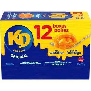 $7.97(原价$18.99)仅$0.66/包史低价:Kraft Dinner 卡夫原味香浓芝士通心粉 225g*12盒