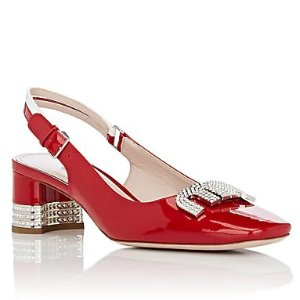 2e087145ced Miu Miu Crystal-Embellished Denim Slide Sandals. Miu MiuCrystal Logo Patent  Leather Slingback Pumps