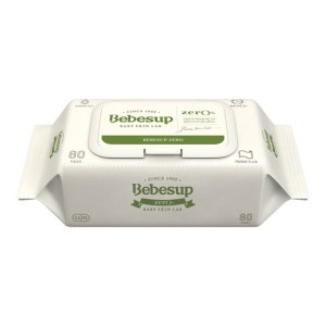 额外8.8折韩国BEBESUP 宝宝湿巾 手口湿巾 优质绿色 ZERO无刺激 带盖 80抽