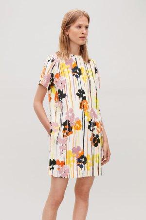 PRINTED LINEN-BLEND DRESS - Ivory - Dresses - COS