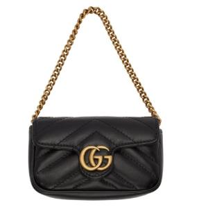 黑色GG Marmont终于补货 £385收 手慢无Gucci 双G系列断货王黑色有货  钱包手包链条包三合一
