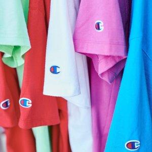 低至5折+额外5折+免邮Champion官网 特价区儿童服饰特卖  T恤$5 卫衣$7.5