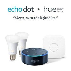 $119.99即将截止:Echo Dot 黑色 + Philips Hue 2彩灯+Hub 入门套装