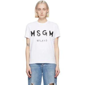 MSGM100%全棉!XS-L码!白色logoT恤