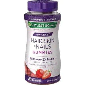 Nature's Bounty买1送1皮肤指甲头发2倍生物素软糖, 80粒