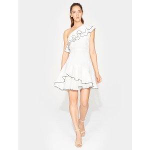 HalstonOne Shoulder Ruffle Dress
