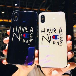 苹果7手机壳玻璃镜面七简约8x文字i6sp欧美潮牌iPhone8plus保护套