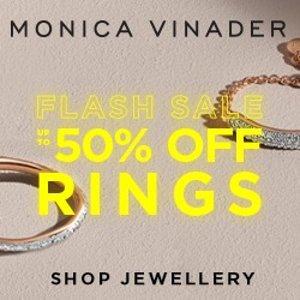低至5折 $42起黑五开抢:Monica Vinader 每日闪购 精选戒指热卖