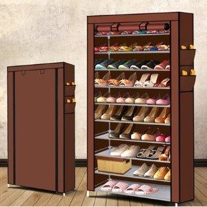 团购价$29 可放50双鞋Groupon 10层简易组装防尘鞋架