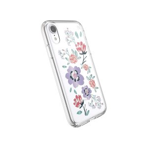 Speck Products Presidio Clear + Print iPhone XR Case, CanopyFloral Lavender/Clear
