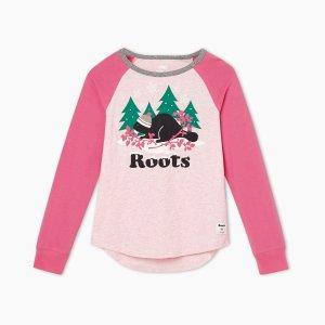 Roots女大童拼色长袖