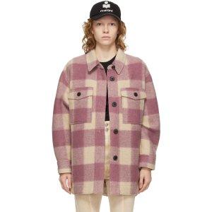 Isabel Marant Etoile爆款粉色 短款Beige & Pink Check Harveli 衬衫夹克