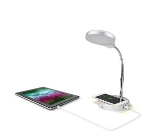 $10Mainstays LED台灯 配无线充电和USB端口 银色