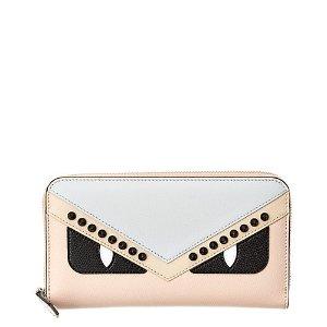 FendiMonster Leather Zip Around Wallet