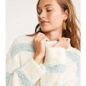 LOU & GREYTexturestripe Fuzzy Sweater