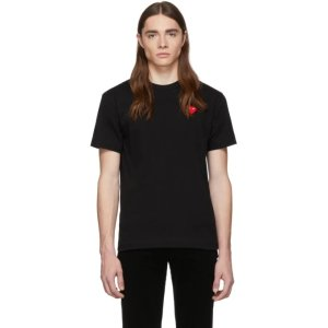Comme des Garcons Play- Black & Red Heart Patch T-Shirt