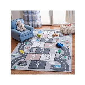 Safavieh满$100享额外8折跳房子图案 童趣地毯
