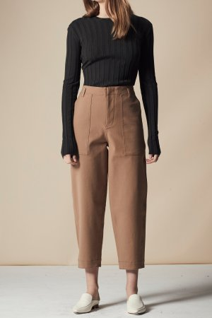 POCKET DETAIL CROPPED PANTS - BEIGE —  MIJEONG PARK - LA based womenswear label