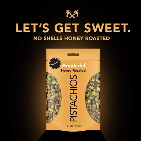 $3.6Wonderful Pistachios, No Shells, Honey Roasted, 5.5 Ounce Resealable Pouch