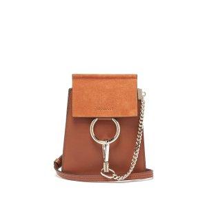 ChloeFaye mini suede-panel leather cross-body bag