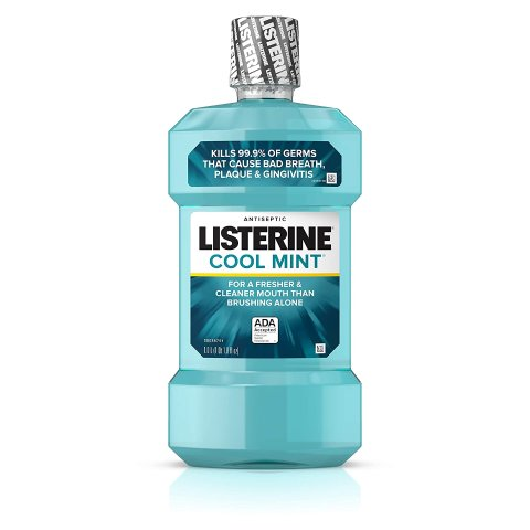 Listerine Cool Mint Antiseptic Mouthwash to Kill 99% of Germs that Cause Bad Breath, Plaque and Gingivitis, Cool Mint Flavor, 1.0L