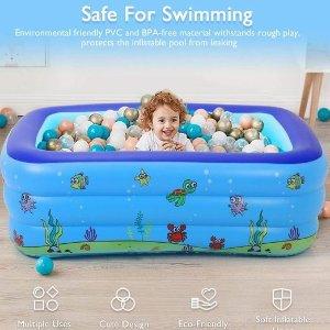 $27.54 (原价$98.99)Satkago 59 x 43英寸 儿童充气游泳池 给宝宝快乐夏天