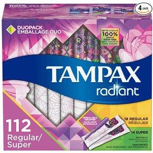 Tampax需点击$4优惠券并通过S&S结账组合装棉条 112支