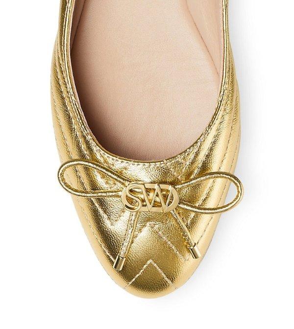 HILLIA 金色蝴蝶结平底鞋