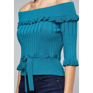 BebeElisa Ribbed Peplum Sweater
