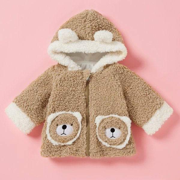 小童毛绒绒外套 带小耳朵