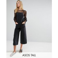 ASOS TALL Denim Cropped Length Jumpsuit in Washed Black