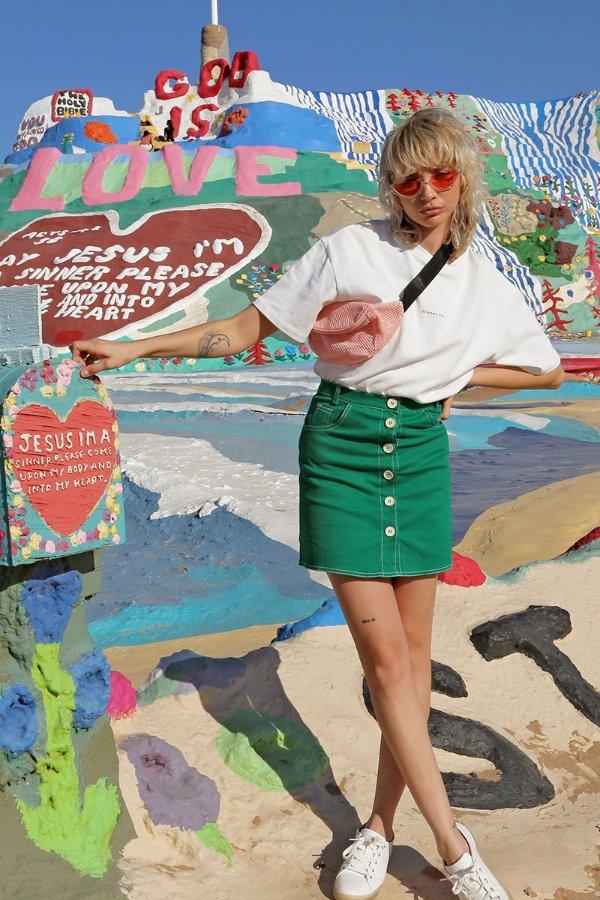 绿色mini短裙