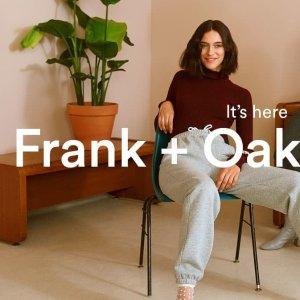 正价7.5折 基础短袖$25 免邮最后一天:Frank And Oak 周年庆 休闲裤$67 收豆沙绿连衣裙