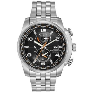 CitizenMen's Eco-Drive Silvertone And Black World Time A-T Watch