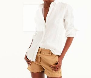 Tall slim perfect shirt in piece-dyed Irish linen
