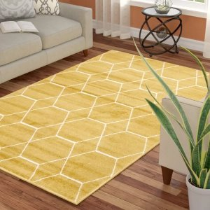 Elborough Geometric Yellow RugElborough Geometric Yellow Rug