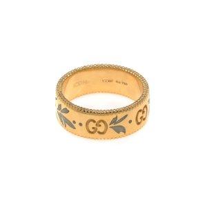 GucciIcon 18k Yellow Gold And Enamel Ring Sz 4.5 YBC434525001008
