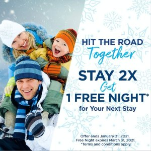 Get a Free NightStay Two Separate Times Get a Free Night for Next Stay