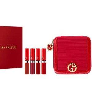 满£80立赠Mini雾面口红400+化妆包阿玛尼4支口红礼盒装上市 含精美零钱包一个