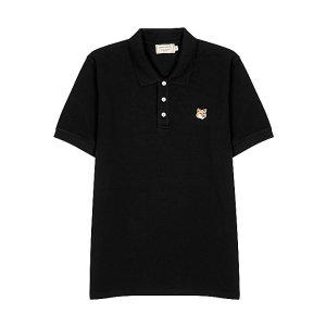 Maison KitsuneBlack pique cotton polo shirt